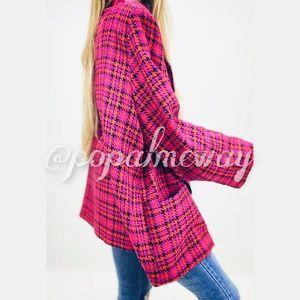 Vintage Plaid Houndstooth Plus Size Blazer Jacket